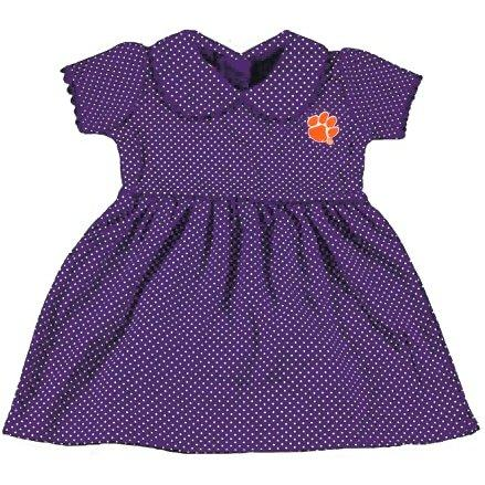 Two Feet Ahead Clemson Tigers Pin Dot Infant Peter Pan Dress - Mr. Knickerbocker