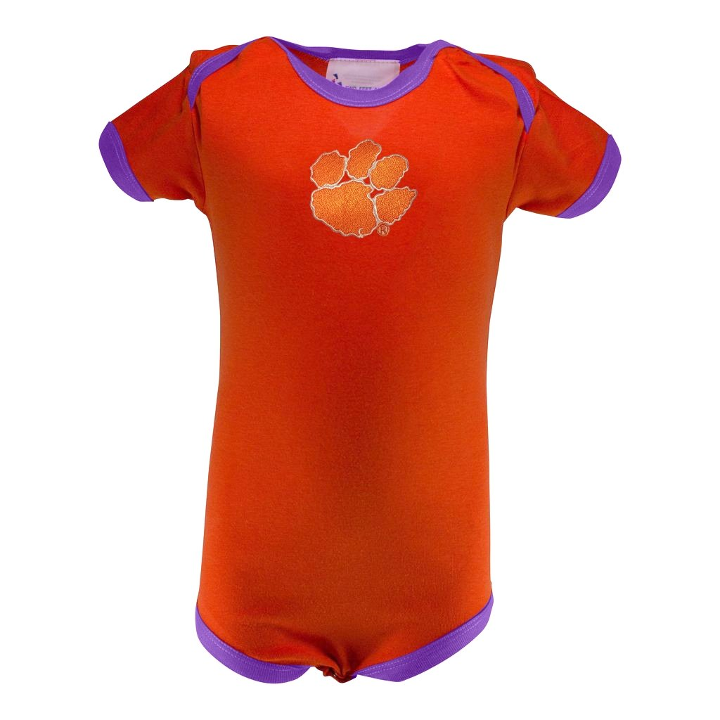 Two Feet Ahead Clemson Tigers Ringer Creeper With Tiger Paw - Mr. Knickerbocker