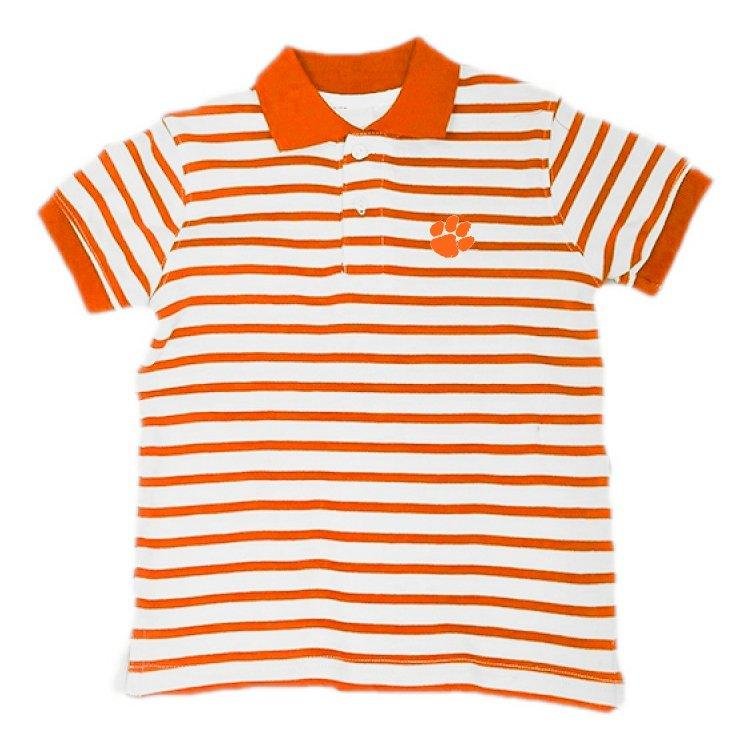 Two Feet Ahead Clemson Tigers Striped Golf Shirt - Mr. Knickerbocker
