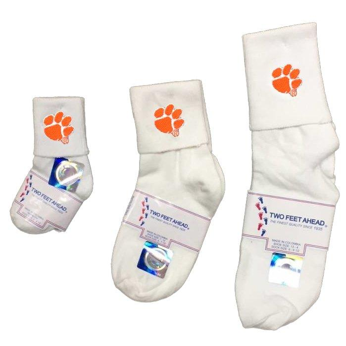 Two Feet Ahead Clemson Tigers White Anklet Sock With Orange Paw - Mr. Knickerbocker