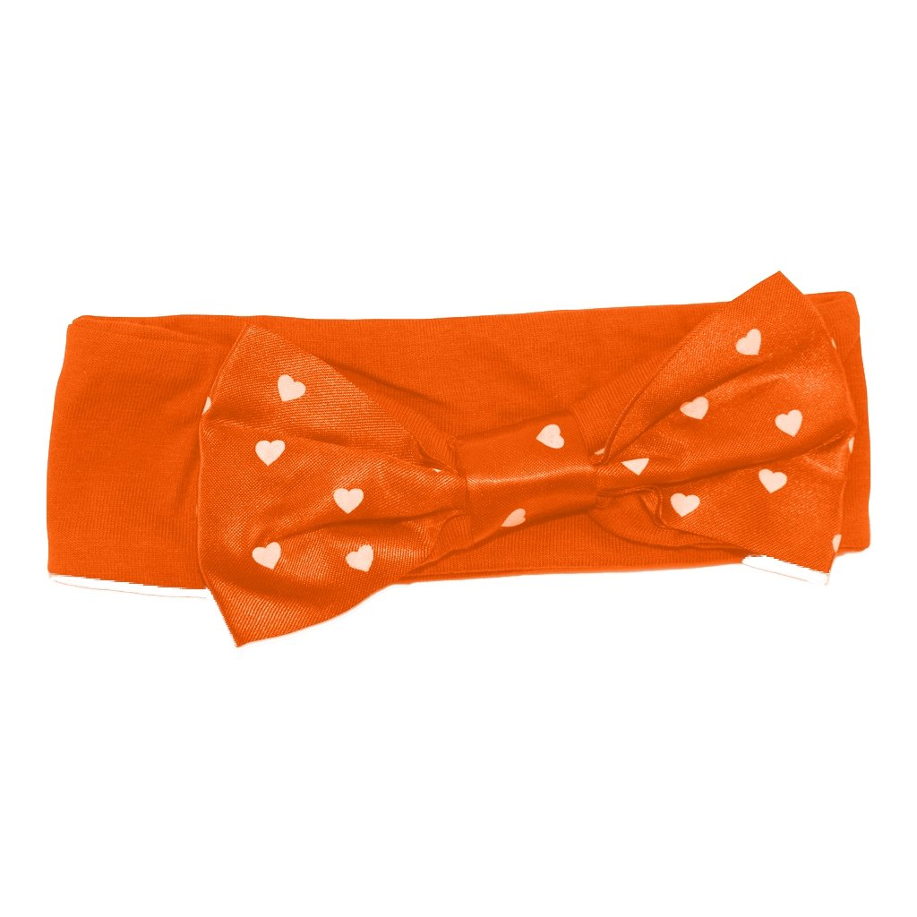 Two Feet Ahead White Knit Headband With Orange Heart - Mr. Knickerbocker