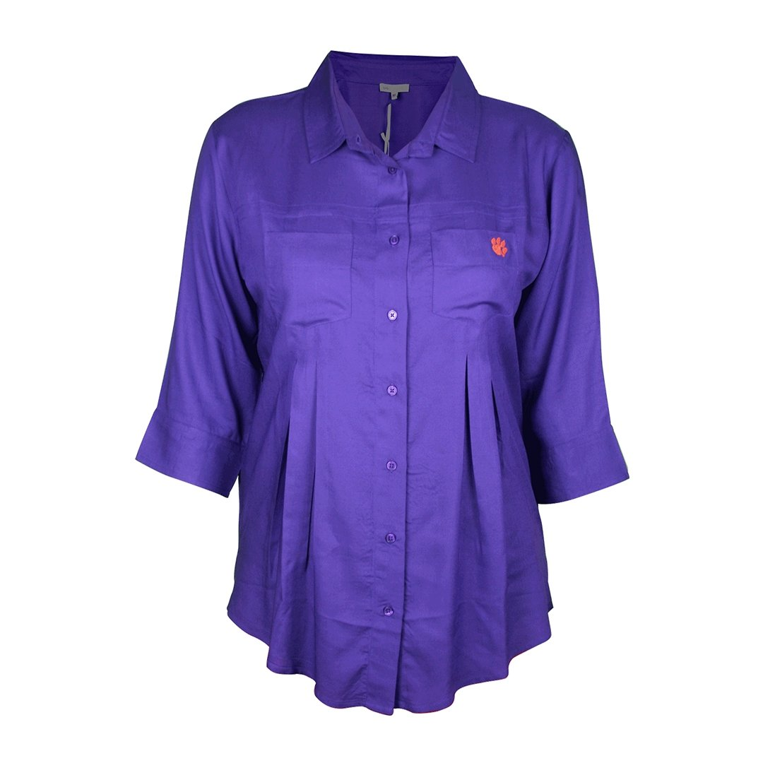 University Girls Clemson Tigers Front Pleated Button-up With Orange Paw - Mr. Knickerbocker