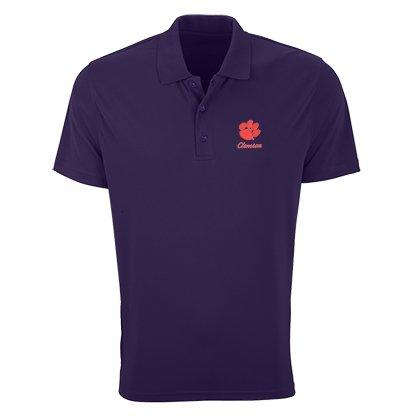 Vantage Clemson Tigers Mesh-tech Polo With Embroidered Paw and Script - Mr. Knickerbocker