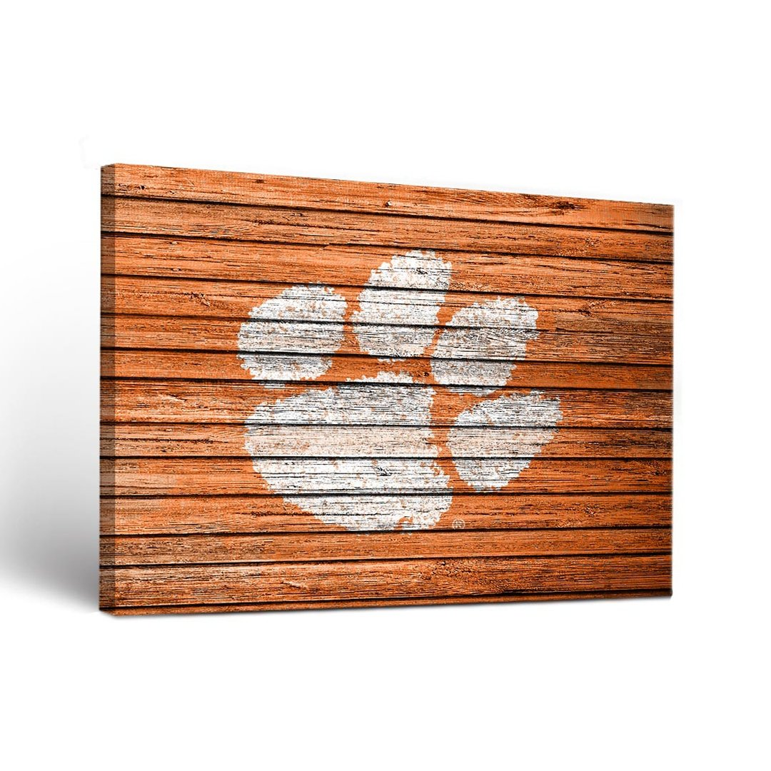 Victory Tailgate Clemson Tigers Weathered Wood Canvas Art - Paw Print - Mr. Knickerbocker