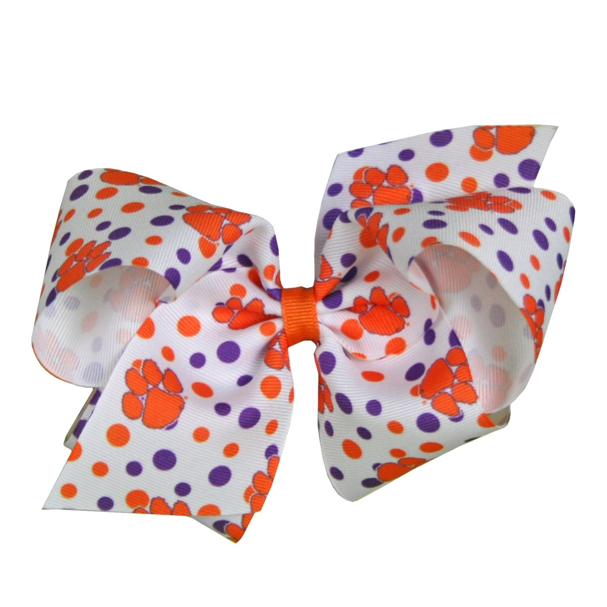 Wee Ones Clemson Tigers All-over-paw and Polka Dot Print Bow - Mr. Knickerbocker