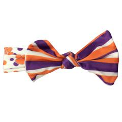 Wee Ones Clemson Tigers Polka Dot and Striped Headband With Bow - Mr. Knickerbocker