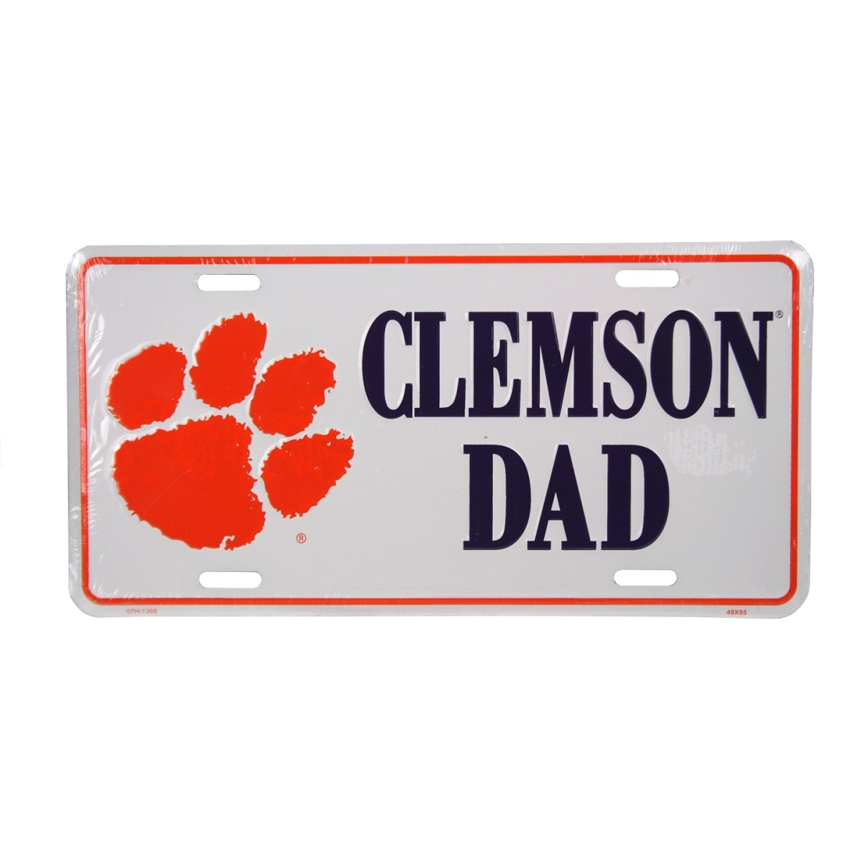 White Car Tag-purple Clemson Dad/orange Paw - Mr. Knickerbocker