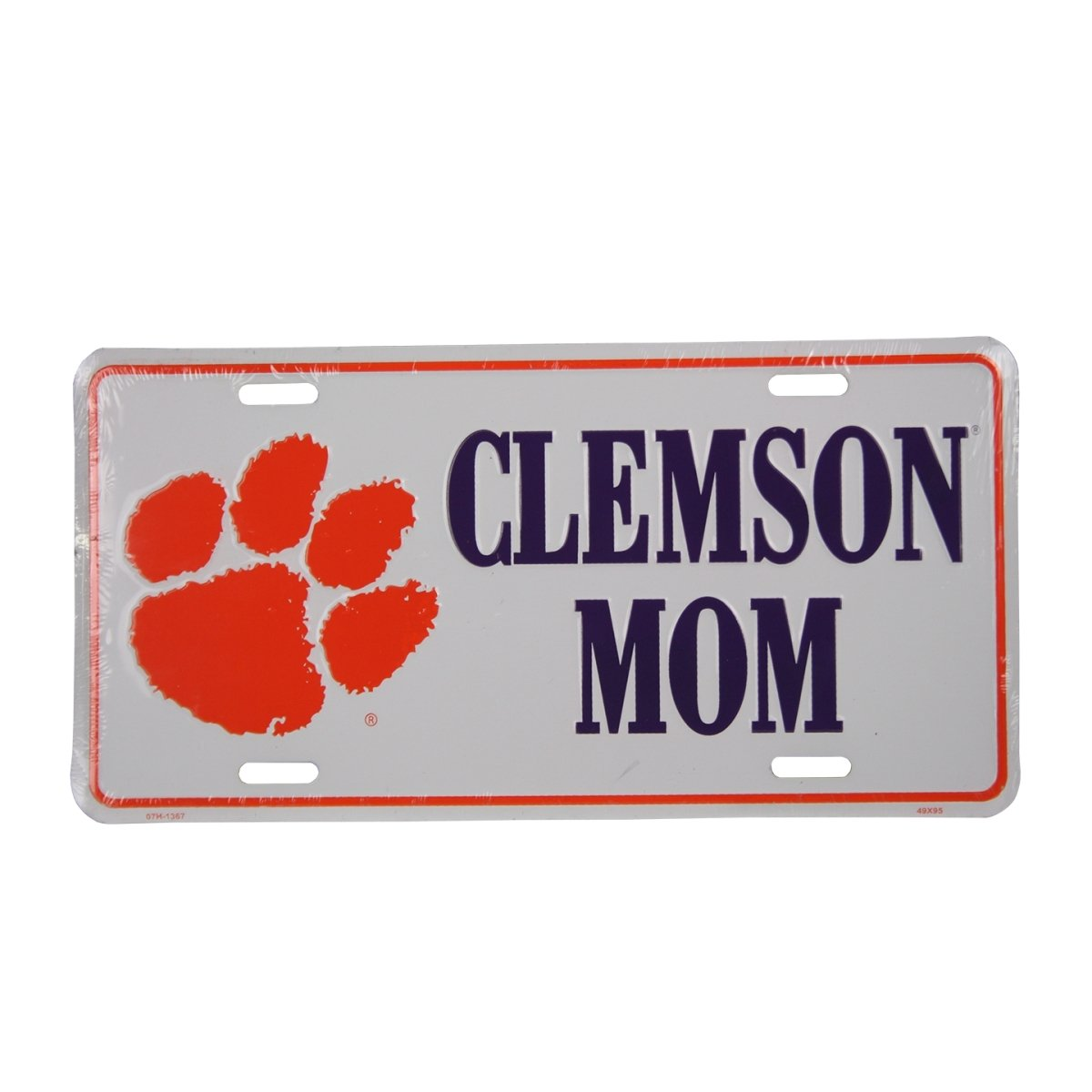 White Car Tag-purple Clemson Mom/orange Paw - Mr. Knickerbocker