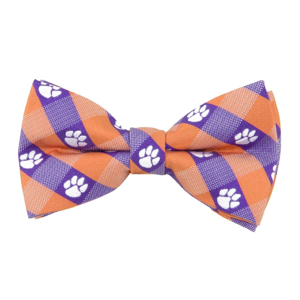 Woven Pretied Check Bow Tie With White Paws Adjustable 11''-19'' - Mr. Knickerbocker
