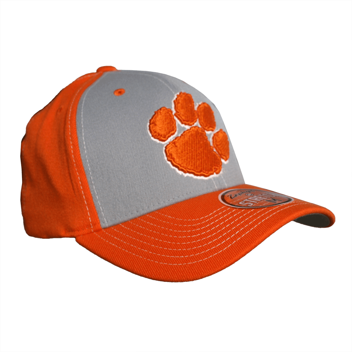 Zephyr Sediment Orange hat with 3D paw and Clemson on back - Mr. Knickerbocker