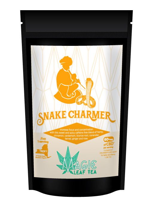 spicy ginger and cinnamon cbd tea in bag from magic leaf tea company