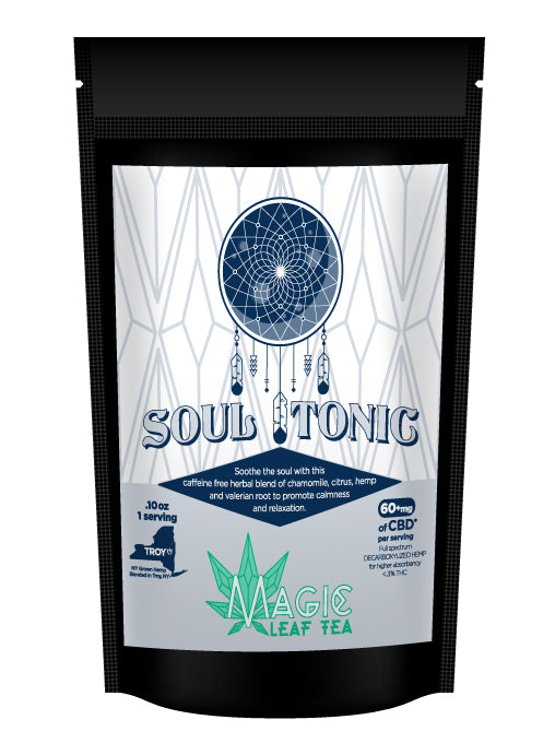 soul tonic cbd tea for better nights rest in a bag from magic leaf tea company