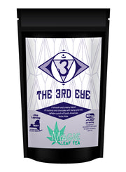 bag of  third eye cbd tea with hemp, yerbe mate and chocolate coconut flavors from magic leaf tea company