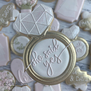 Geo Heart Wedding Ring Cookie Cutter