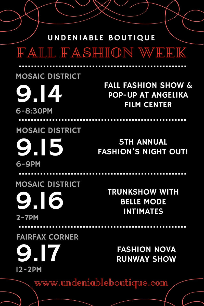 Four Fall Fashion Week Events with Undeniable Boutique