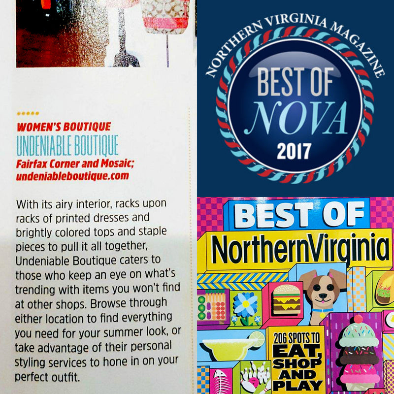 Undeniable Boutique Voted Best Boutique in Northern Virginia 2017!