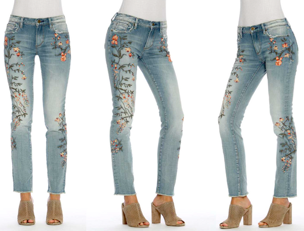Embroidered Audrey Ginger Jeans