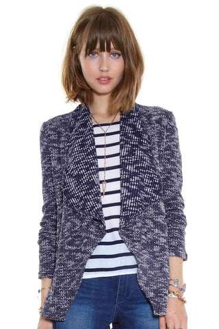 Navy & White Speckled Sweater Jacket