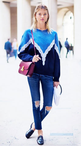 Distressed Denim Colorful Sweater