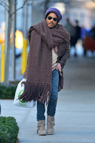 Lenny Kravitz in a blanket