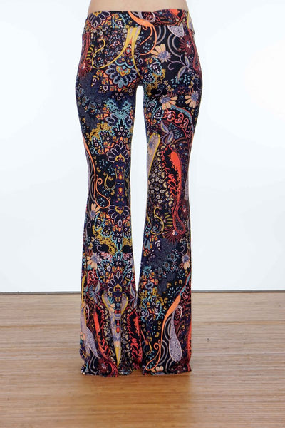 Multicolored Bohemian Flare Pants Back