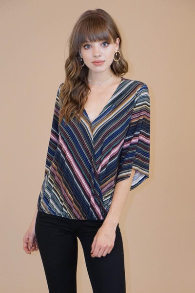 Striped Cross-Over Blouse