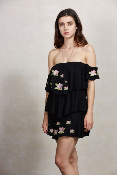 Off Shoulder Embroidered Rose Patch Tiered Dress