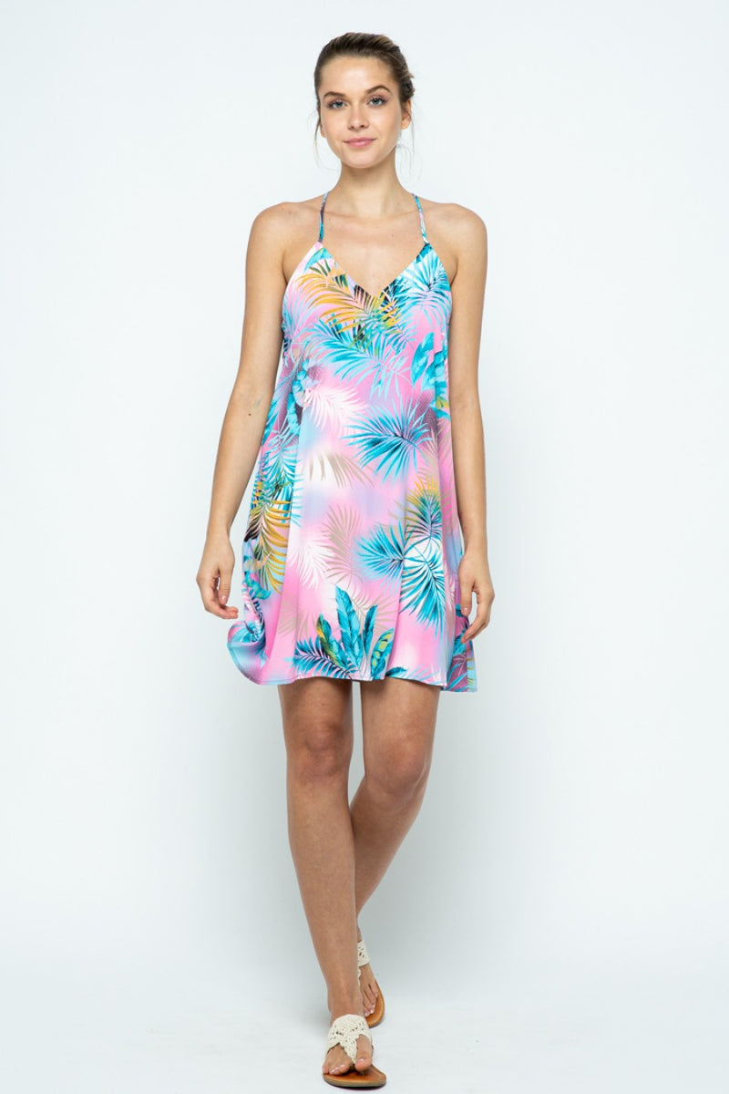 Tropical Print Strappy Racerback Dress in Pretty Pink