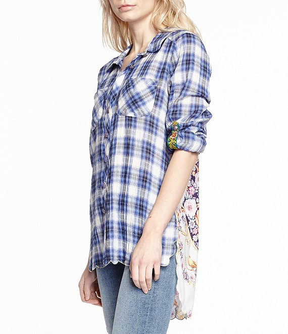 LAST CALL SIZE S | Navy Button Down Plaid Shirt