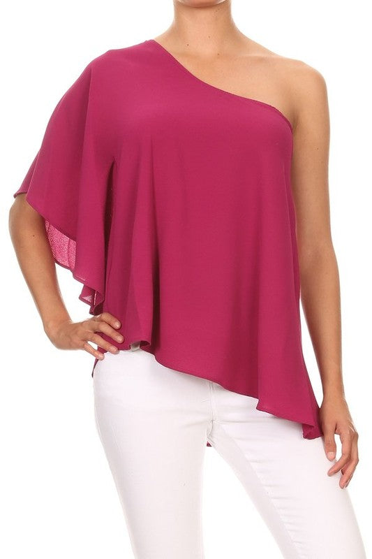 LAST CALL SIZE L | One Shoulder Diagonal Hem Top in Magenta