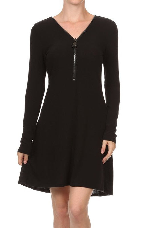 Long Sleeve Zipper Shift Dress