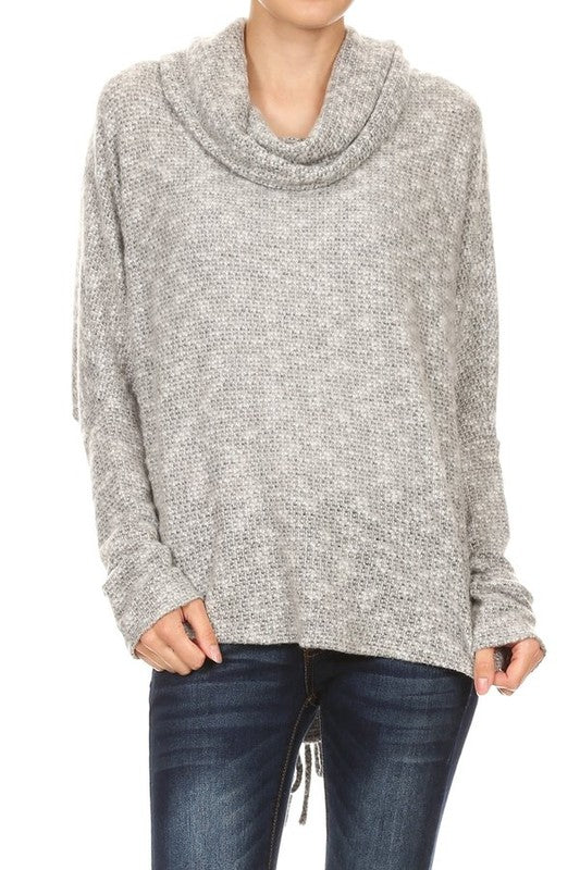 LAST CALL SIZE L | Lace-Up Back Cowl Neck Sweater in Grey