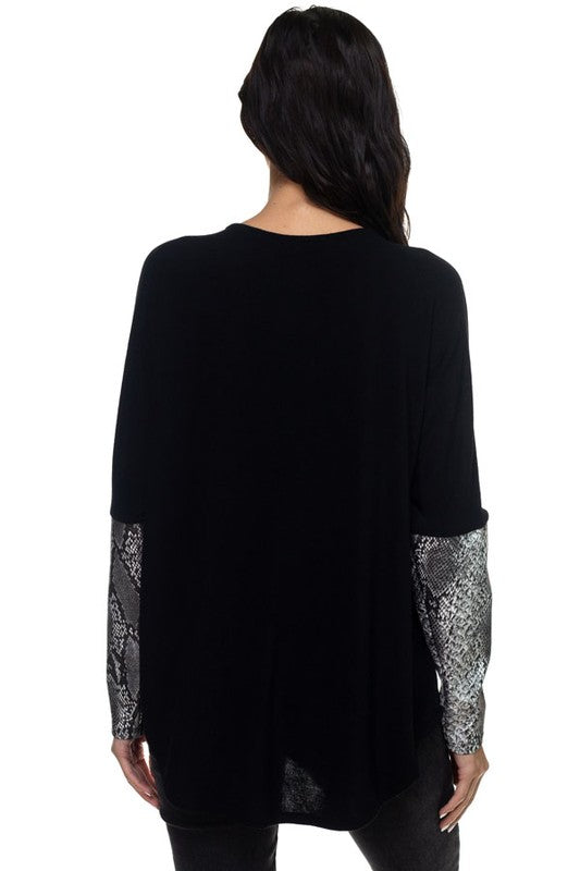 Zip-Up Long Sleeve Sweater Top in Black with Snake Print Faux Leather Arms