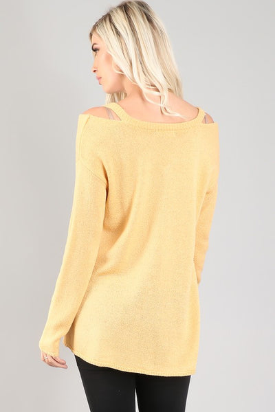 LAST CALL SIZE L | Cold-Shoulder V-Neck Sweater in Buttercup