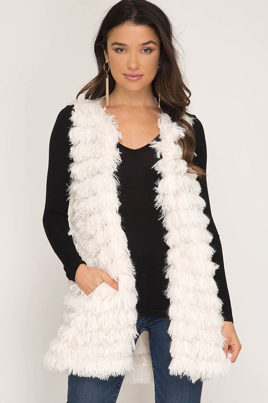 Layered Faux Fur Vest in Cream