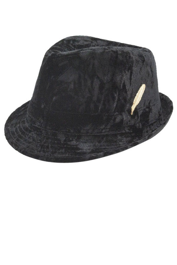 Crushed Velvet Fedora in Black