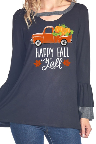 Happy Fall Y'All Charcoal Flare Sleeve T-Shirt