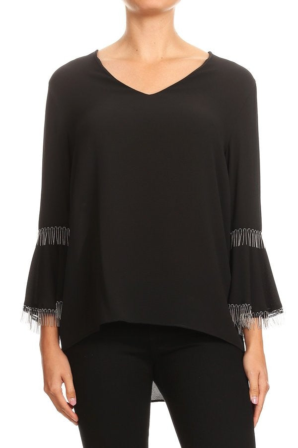 Long Sleeve Chain Trim Top