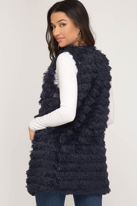 Layered Faux Fur Vest in Navy Blue