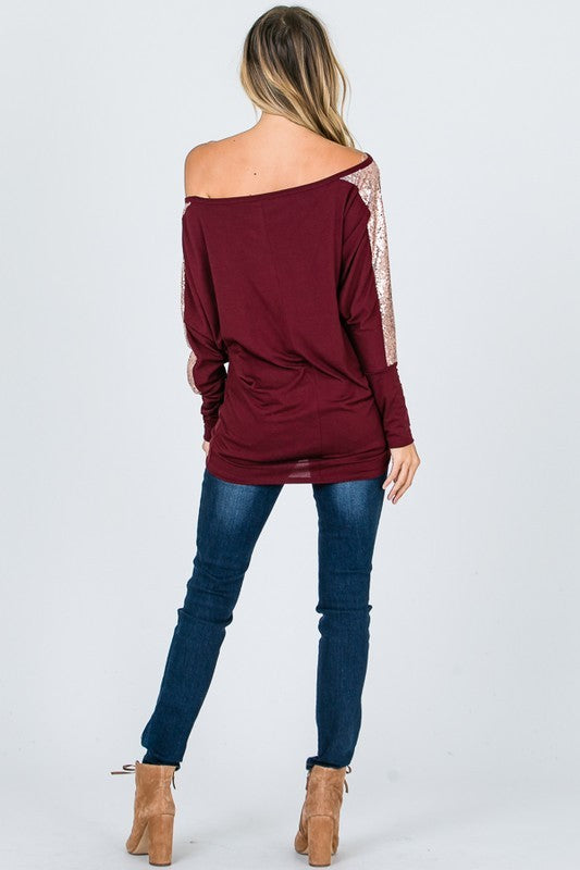 Off-Shoulder Top with Sequin Sleeves in Burgundy