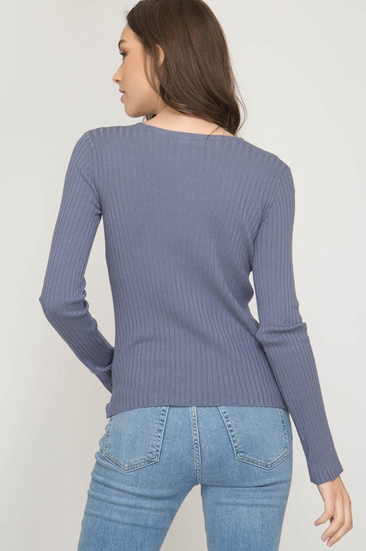 LAST CALL SIZE L | Long Sleeve V-Neck Ribbed Top with Twisted Front Design in Periwinkle