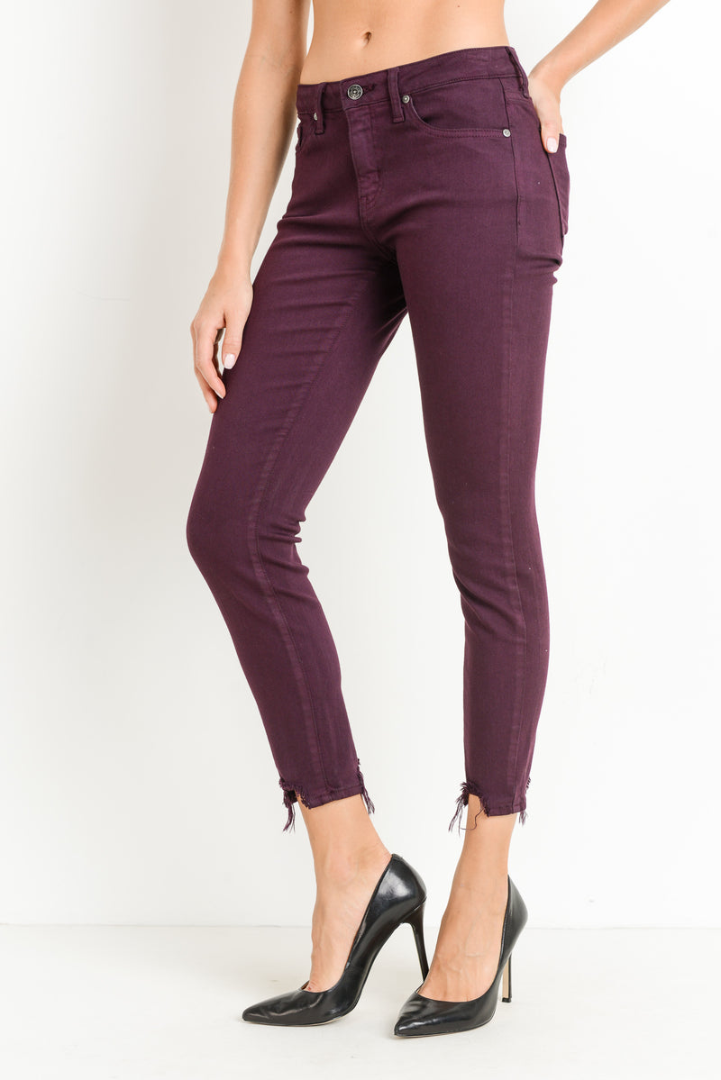 Maroon Skinny Jeans with Distressed Hem Side