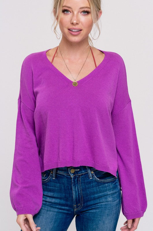 LAST CALL SIZE M/L | V-Neck High-Low Sweater in Fuchsia