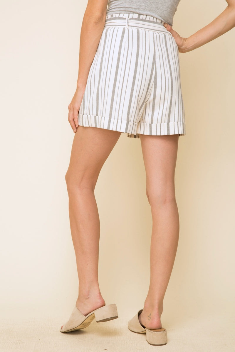 Belted Striped High-Waisted Shorts