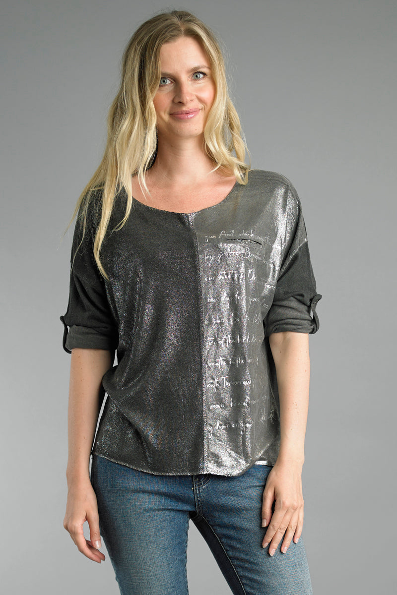 Shimmer Front Long Sleeve Top in Charcoal with Inspirational Words