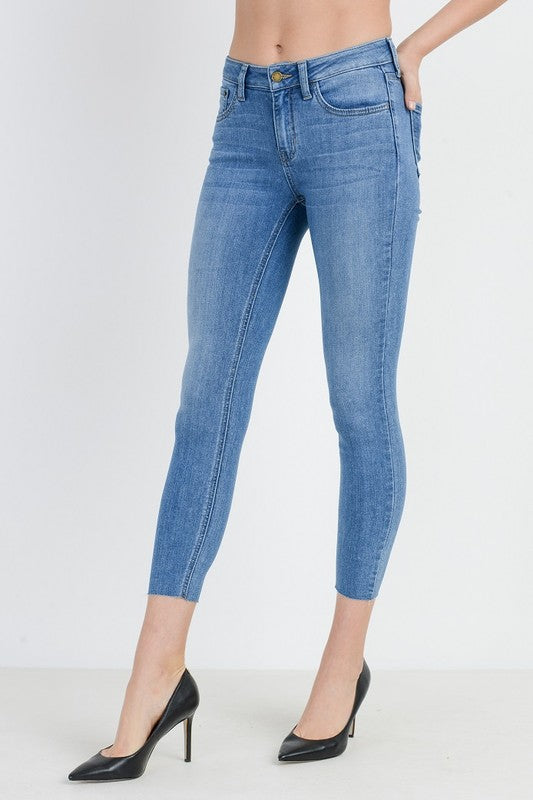 Soft Stretch Light Wash Cropped Skinny Jeans