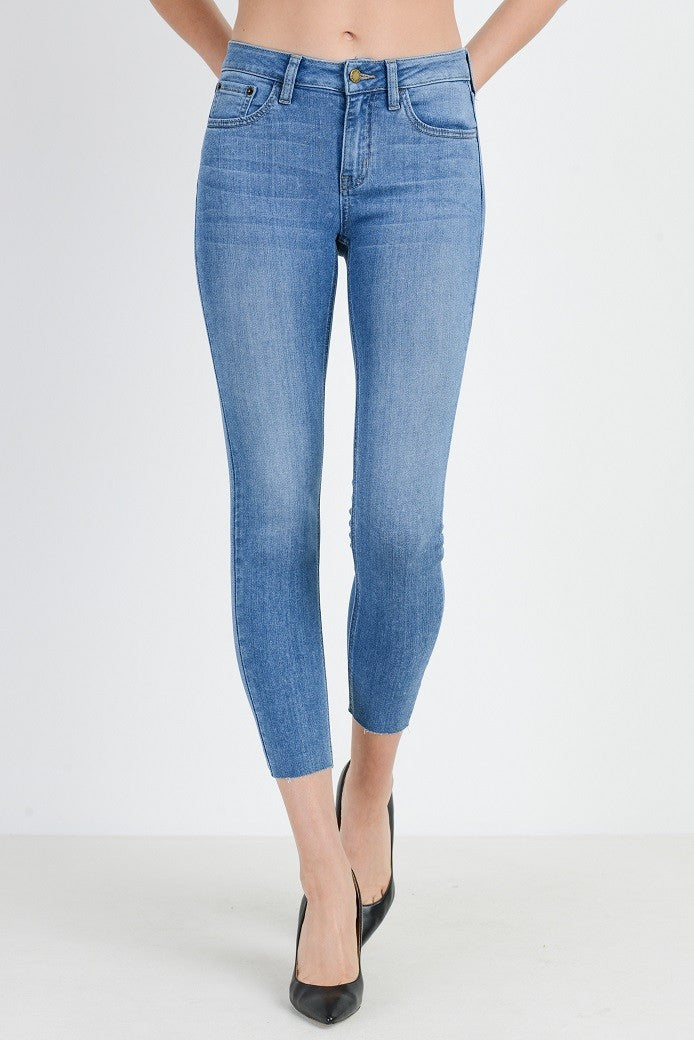 Soft Stretch Light Wash Cropped Skinny Jeans Front