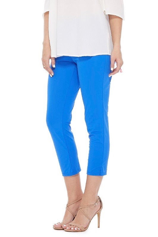 Fitted Crop Pants in Royal Blue