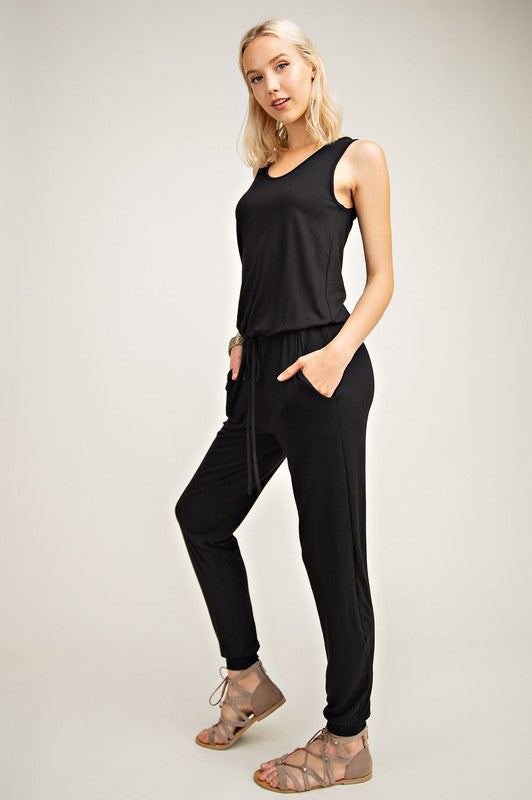 Sleeveless Knit Jogger Jumpsuit in Black