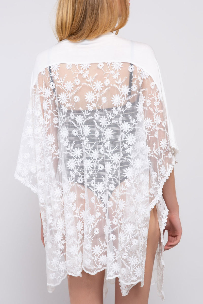 Sheer White Lace Wrap